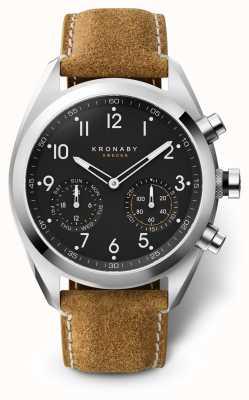 Kronaby 43毫米顶点黑色表盘棕色绒面革表带a1000-3112 S3112/1