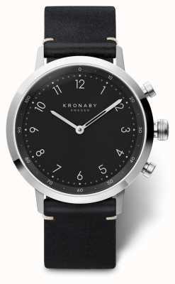 Kronaby 41毫米黑色黑色皮革表带不锈钢a1000-3126 S3126/1
