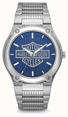 Harley Davidson 徽标印花蓝色表盘不锈钢表链 76A159