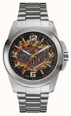Harley Davidson 火焰标志打印表盘不锈钢表壳和手镯 76A147