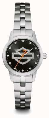 Harley Davidson 黑色标志水晶镶表盘不锈钢表链 76L182