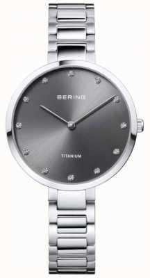 Bering 水晶镶钛灰色表壳和表链 11334-772