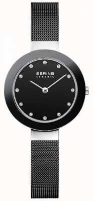 Bering 水晶镶表盘陶瓷表圈黑色网眼手链 11429-102