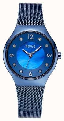 Bering 太阳能抛光蓝色表盘和蓝色网状手链水晶套装 14427-393