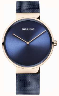 Bering 经典蓝色表盘玫瑰金表壳蓝色ip镀金网眼表带 14539-367