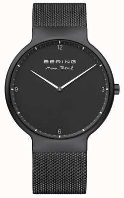 Bering Maxrené黑色表盘白色标记黑色ip镀金网眼表带 15540-123