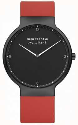 Bering Maxrené黑色ip镀层表壳红色硅胶表带 15540-523