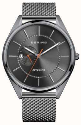 Bering 自动日期显示灰色表盘不锈钢网眼表带 16243-377