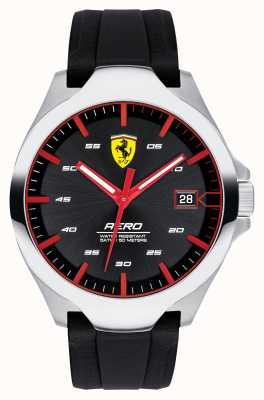 Scuderia Ferrari 男士航空日期显示黑色表盘硅胶表带 0830506