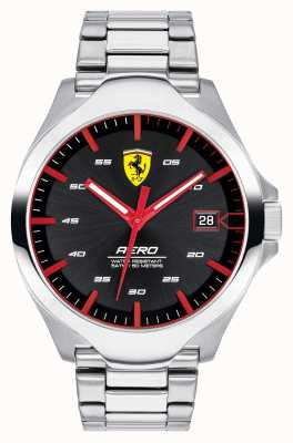 Scuderia Ferrari 男士航空日期显示黑色表盘不锈钢表链 0830507