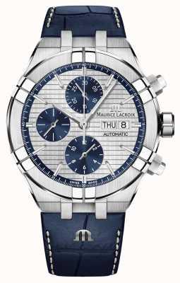 Maurice Lacroix Aikon自动计时蓝色皮表带手表 AI6038-SS001-131-1