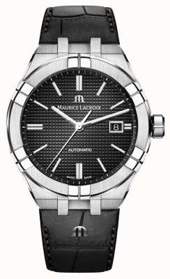 Maurice Lacroix Aikon自动黑色表盘黑色皮革手表 AI6008-SS001-330-1