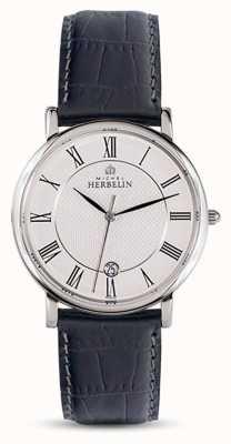 Michel Herbelin 男士经典黑色真皮表带白色表盘 12248/08