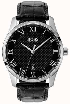 Hugo Boss 男士掌握黑色表盘黑色皮革手表 1513585