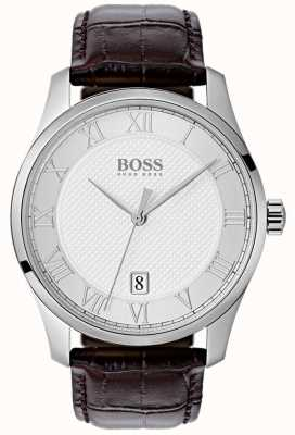 Hugo Boss 男士掌握银色表盘棕色皮革手表 1513586