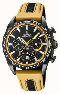 Festina 男士黑色镀铂金chrono手表皮表带 F20351/4