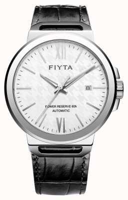 FIYTA 独奏自动黑色皮革白色表盘蓝宝石 GA852000.WWB
