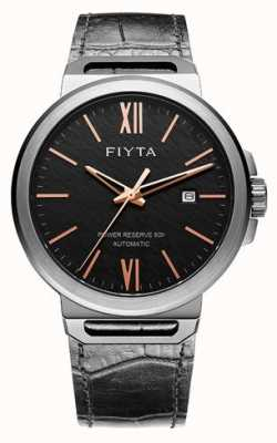FIYTA 独奏自动黑色皮革黑色表盘蓝宝石 GA852000.BBB