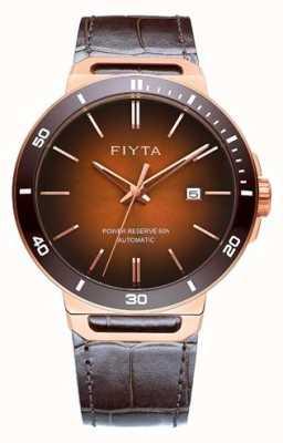 FIYTA 独奏自动棕色真皮棕色表盘蓝宝石 GA852001.PKK