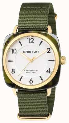 Briston Clubmaster别致的绿色表带白色表盘 18536.PYA.TG.2.NGA