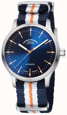 Muhle Glashutte Panova bleu限量版合成蓝色橙色表带 M1-40-72-NB
