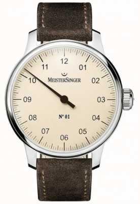 MeisterSinger 1号40毫米和伤口sellita麂皮棕色表带 DM303