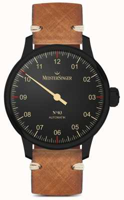 MeisterSinger 单手黑色系浅棕色皮表带 AM902BL