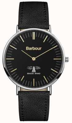 Barbour 男士哈特利黑色真皮表带黑色表盘 BB055BKBK