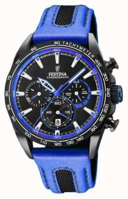 Festina 男士运动计时蓝色皮革表带黑色表盘 F20351/2