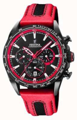 Festina 男士运动计时表红色皮革表带黑色表盘 F20351/6