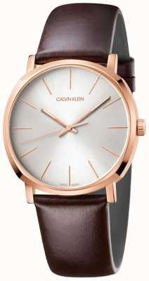 Calvin Klein 男士棕色真皮表带玫瑰金表款 K8Q316G6