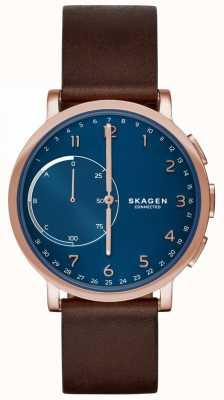 Skagen Hagen连接智能手表棕色皮革表带蓝色表盘 SKT1103