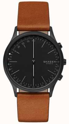 Skagen Jorn连接智能手表棕色皮革表带黑色表盘 SKT1202