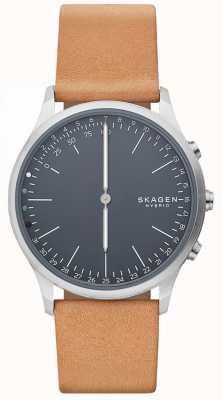 Skagen Jorn连接智能手表棕色皮革表带蓝色表盘 SKT1200
