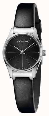 Calvin Klein 经典黑色表盘黑色皮革表带不锈钢表壳 K4D231CY