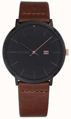 Tommy Hilfiger 男士詹姆斯腕表棕色真皮表带深灰色表盘 1791461