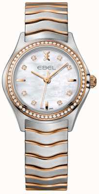 EBEL 女士钻石波浪珍珠母贝表盘双色手镯 1216325