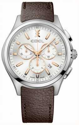 EBEL 男士波浪计时码表日期显示棕色皮革表带 1216341