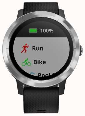 Garmin Vivoactive 3小时多运动跟踪器黑色橡胶银色表圈 010-01769-00