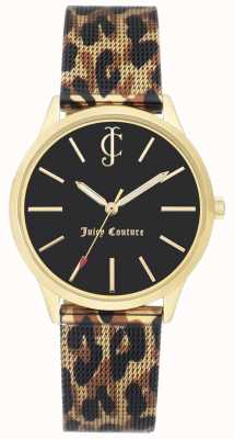 Juicy Couture 女装豹纹印花皮表带黑色表盘 JC-1014GPLE