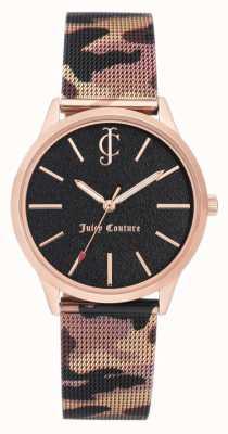 Juicy Couture 女式棕色迷彩印花真皮表带黑色表盘 JC-1014RGCA