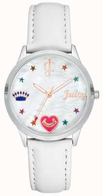 Juicy Couture 女式白色硅胶表带有彩色标记 JC-1019WTWT