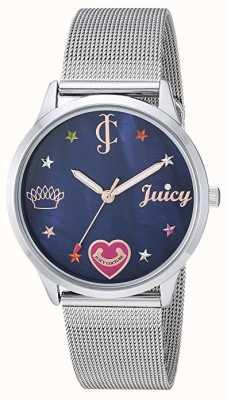 Juicy Couture 女式银色网状手链|彩色标记|蓝色表盘 JC-1025BMSV