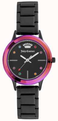 Juicy Couture 女式小黑色手镯黑色表盘,彩色表圈 JC-1051MTBK