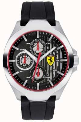 Scuderia Ferrari 男士黑色计时码表表盘黑色橡胶表带 0830510