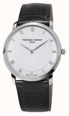 Frederique Constant 男士石英纤细黑色皮革表带 FC-200RS5S36