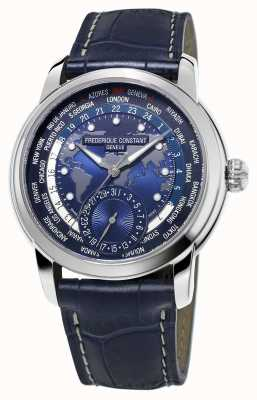 Frederique Constant 男士制造商世界时间蓝色表盘蓝色表带 FC-718NWM4H6