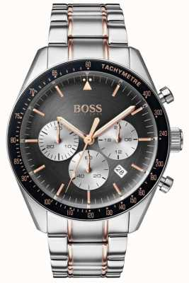 Hugo Boss 男士奖杯手表灰色计时码表表盘不锈钢 1513634