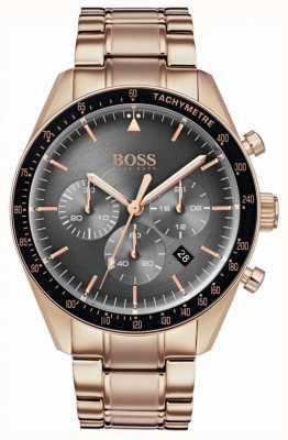 Boss 男士奖杯手表灰色计时码表表盘玫瑰金色调 1513632