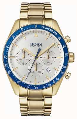 Hugo Boss 男士奖杯手表白色计时码表拨号金色调 1513631